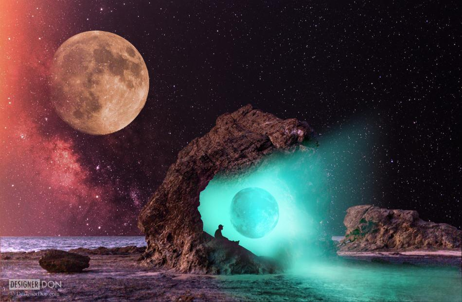 Moon with a View - Surreal digital collage