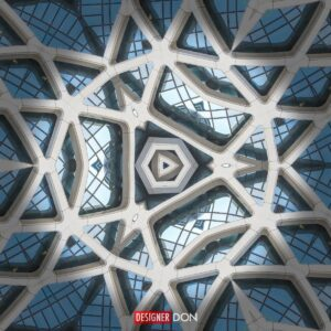Cathedral Three: An abstract geometric artwork resembling stone and glass from a cathedral structure