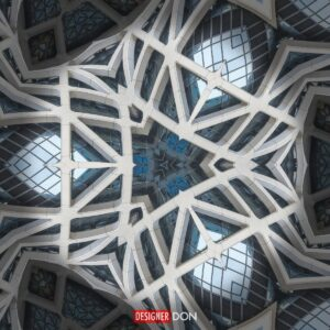 Cathedral Four: An abstract geometric artwork resembling stone and glass from a cathedral structure