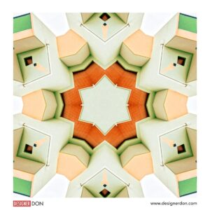 Zurich Geometrie digital artwork. Three-dimensional shapes in pale greens, blues and oranges