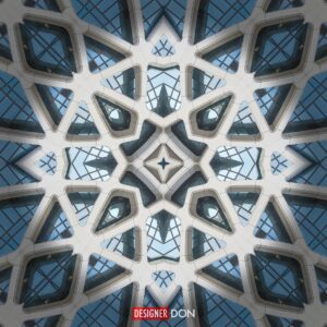 Cathedral Seven: An abstract geometric artwork resembling stone and glass from a cathedral structure